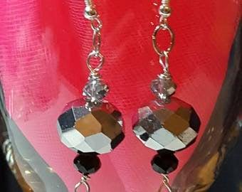 Silver Tone Dangle Mirror Earrings