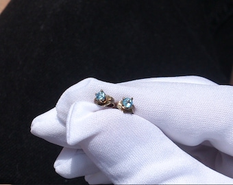 3mm sky blue topaz sterling silver earrings