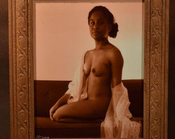 Original Art Photograph, Nude Young African-American Woman, Sepia, 8x10 in carved wooden frame