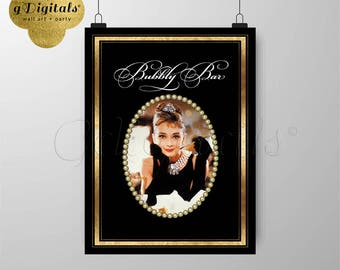Audrey Hepburn Party 1920s Themed, Bridal, Great Gatsby Bubbly Bar Birthday, Poster, Decor, Wall Art Instant 12x16 {Black & Gold Frame Foil}