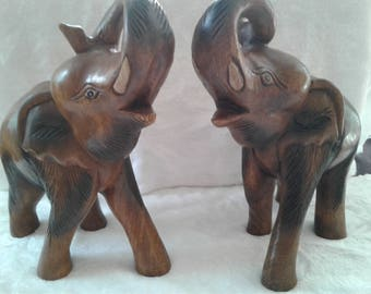 Pair of Wooden Carved Elephants
