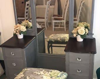 Antique french tri fold mirror vanity