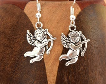 Antique silver Cupid, little clip earrings antique silver Cupid