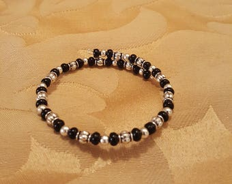 black and silver memory wire wrap bracelet
