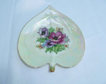 vintage leaf shape trinket dish with flowers