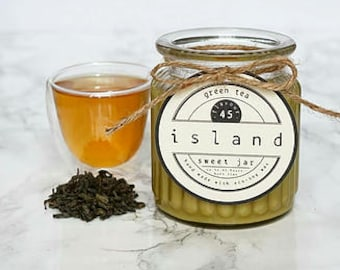 green tea scented soy candle