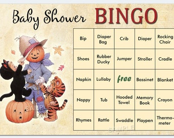 Halloween Baby Shower Bingo, Halloween Baby Shower Bingo Cards - pumpkin baby shower Bingo Card , Blank Bingo Cards AND PreFilled Cards