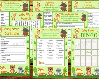 woodland baby shower  games package, eight printable games, Baby shower games pack, animals baby shower games
