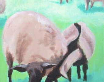 """Goat and Sheep - acrylic on canvas - 18"""" x 18"""" 2016"""