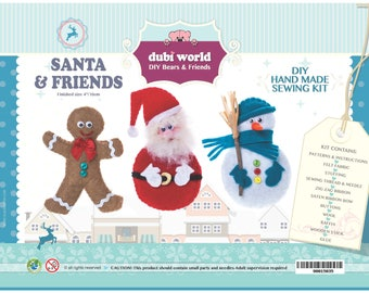 DIY Craft Hand Made Sewing Kit - SANTA & FRIENDS Unique Gift and Family Time