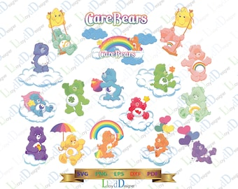 Care Bears Clipart SVG CareBear Birthday Party Care Bears svg files Care bears shirt ornament svg eps png dxf cutting files for cricut cameo
