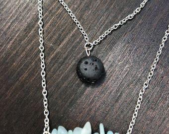 Layered Lava Stone Necklace