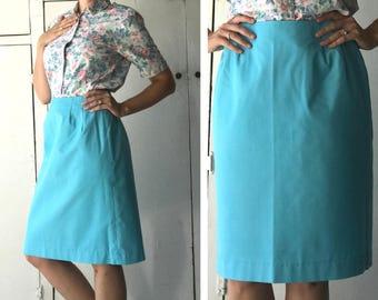 70s womens high waist skirt | vintage turquoise skirt | womens high waist skirt | 70s womens clothing