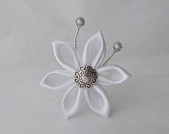 White satin flower hair pins
