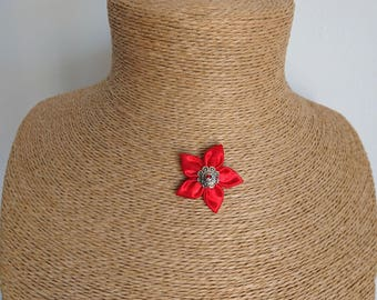 Bright red satin fabric Flower necklace