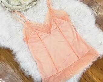 Vintage 70s/80s Silky Peach Slip Top Size XS