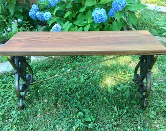 Reclaimed Teak and Cast Iron Bench