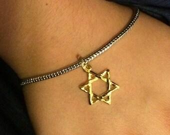 Star of David Silver & Gold Bracelet