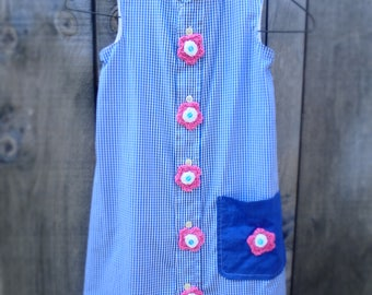 Hand made Upcycled Girl's Shirt dress from Men's shirt, with Hand crochet flowers, age 7.