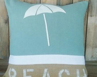 Beach pillow,Coastal pillow,Teal, Burlap pillow