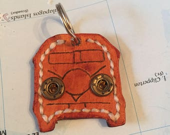 Leather Campervan Keyring handmade