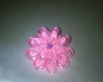made way in satin ribbon kanzashi flower hair clip pink and pink organza and Pink Rhinestone flower