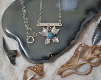 Sterling Silver Arrow Turquoise Bar Necklace