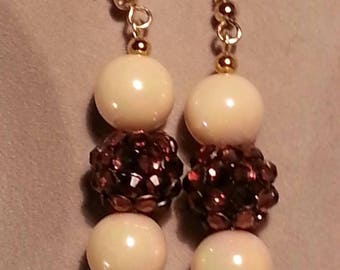 Handcrafted Pierced Earrings/Nickel free/brown and and beige