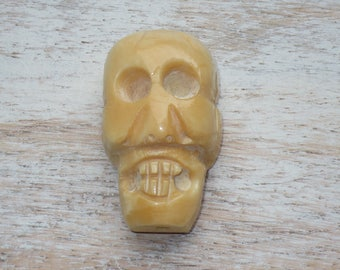 Large Carved Bone Skull Bead, Sugar Skull Bead, Skull Bead