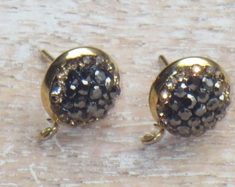 Gold Plated Pave Cz Encrusted Stud Earring Posts with Hook