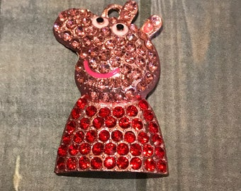 Peppa Peg Pendant, Chunky Bead Pendant, Rhinestone Pendant, Peppa Pig