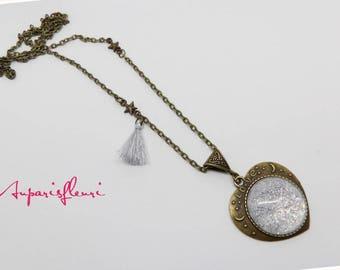 White glitter Heart Necklace