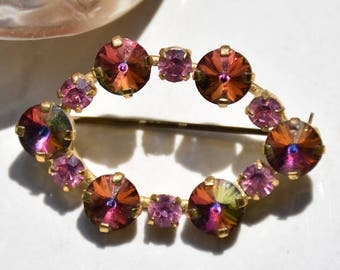 Rhinestone and AB Oval Brooch