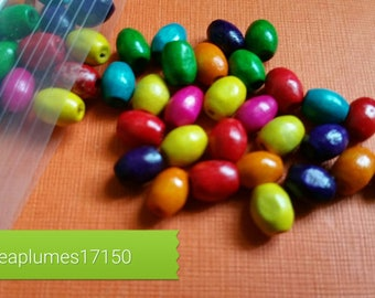 Lot 100 multicolor wood beads, 6x4mm