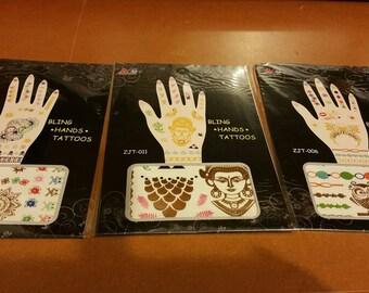 3 Board hands jewel Body Art tattoo
