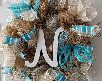 Initial Wreath - Personalized Wreath - Burlap Deco Mesh Turquoise Wreath