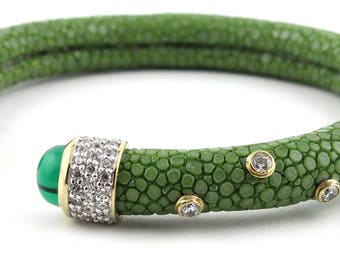 Exotic Green Genuine Stingray Leather Bracelet