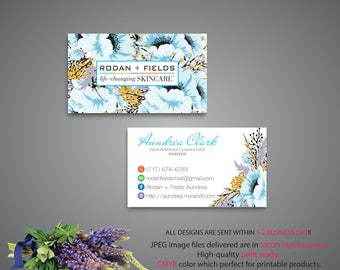Rodan and Fields Business Card, Rodan and Fields Marketing, Custom Business Card, R+F PERSONALIZED, Floral Card RF, Printable RF07