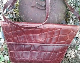 VTG ANNTAYLOR Croc Embossed leather purse/ 1970s Leather purse