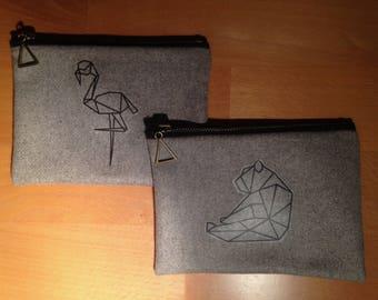 Pochette zipée à motif origami
