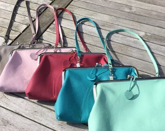 """Pink eco Lederclutche, bow bag with leather handles named """"Liss"""""""