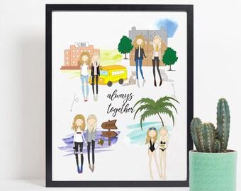 Custom best friend print, personalised best friend portrait, best friend print, best friend gift