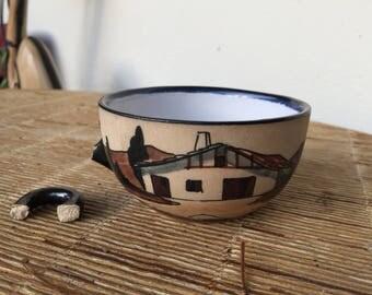 ancienne céramique, Poterie de Ciboure, tasse ancienne VE, anse cassée, décors de berger au Pays Basque, ancient ceramics