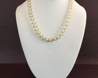 "Faux Pearl Hand Knotted 19"" Vintage Necklace with Barrel Clasp"