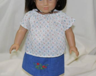 "18"" American Made Girl Doll Clothes, Modeled on Christie American Girl Doll, White Top With Embroidered Jean Skirt"