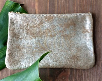 Sana Rustic metal leather Clutch. metallic Leather Pouch. Metallic Leather Wallet. Leather Make Up Bag. Cosmetic Bag. Leather Cosmetic