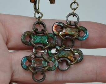 Unique Earrings - repurposed bike bicycle parts, chain links and rollers with color