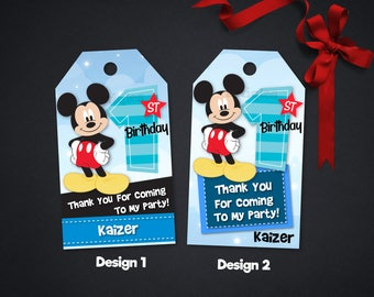 Personalized Mickey Mouse First 1st One Birthday Party Thank You Favor Tag Label Baby Shower Tags Labels Printable DIY - Digital File