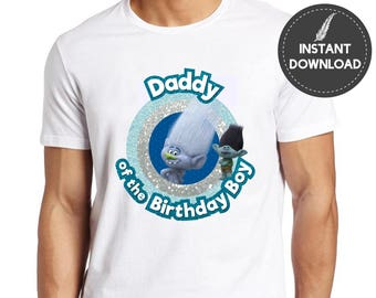 Instant Download - Trolls Daddy of the Birthday Boy Guy Diamond Branch Tshirt Iron On Transfer Tee Shirt Party Printable DIY - Digital File