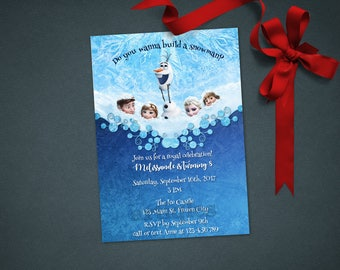 Personalized Frozen Elsa Anna Olaf Invitation Invite Birthday Party Printable DIY - Digital File